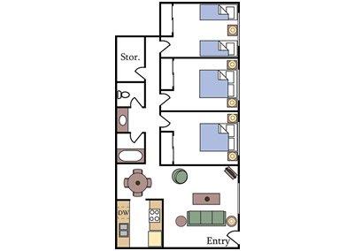 Davis Aggie Square Three-Bedroom Floor Plan Image