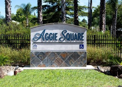 Aggie Square Apartments Davis Monument Sign