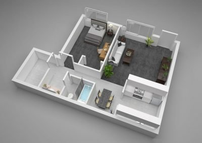 Aggie Square Apartments One-Bedroom Floor Plan Illustration