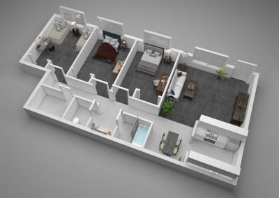 Aggie Square Apartments Three-Bedroom Floor Plan Illustration