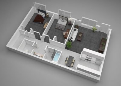 Aggie Square Apartments Two-Bedroom Floor Plan Illustration