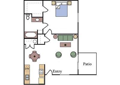 Almondwood Floor Plan One Bedroom Image