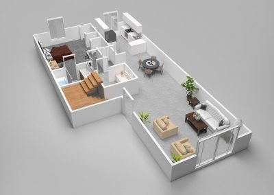 Almondwood Apartments Four-Bedroom Townhouse Floor Plan - Downstairs