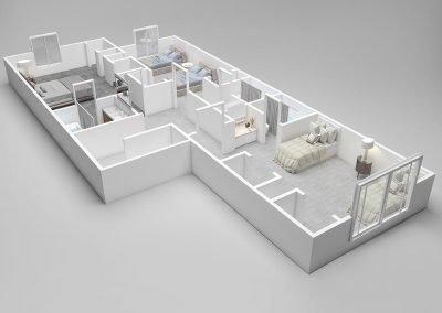 Almondwood Apartments Four-Bedroom Townhouse Floor Plan - Upstairs