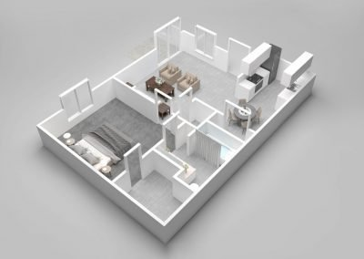 Almondwood Apartments One-Bedroom Apartment Floor Plan