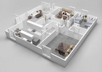 Almondwood Apartments Three-Bedroom Apartment Floor Plan