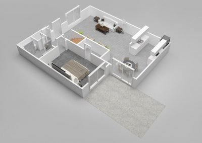 Almondwood Apartments Three-Bedroom Townhouse Floor Plan - Downstairs