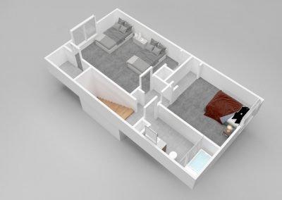 Almondwood Apartments Three-Bedroom Townhouse Floor Plan - Upstairs