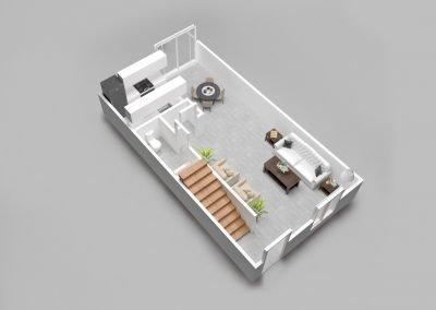 Almondwood Apartments Two-Bedroom Townhouse Floor Plan - Downstairs