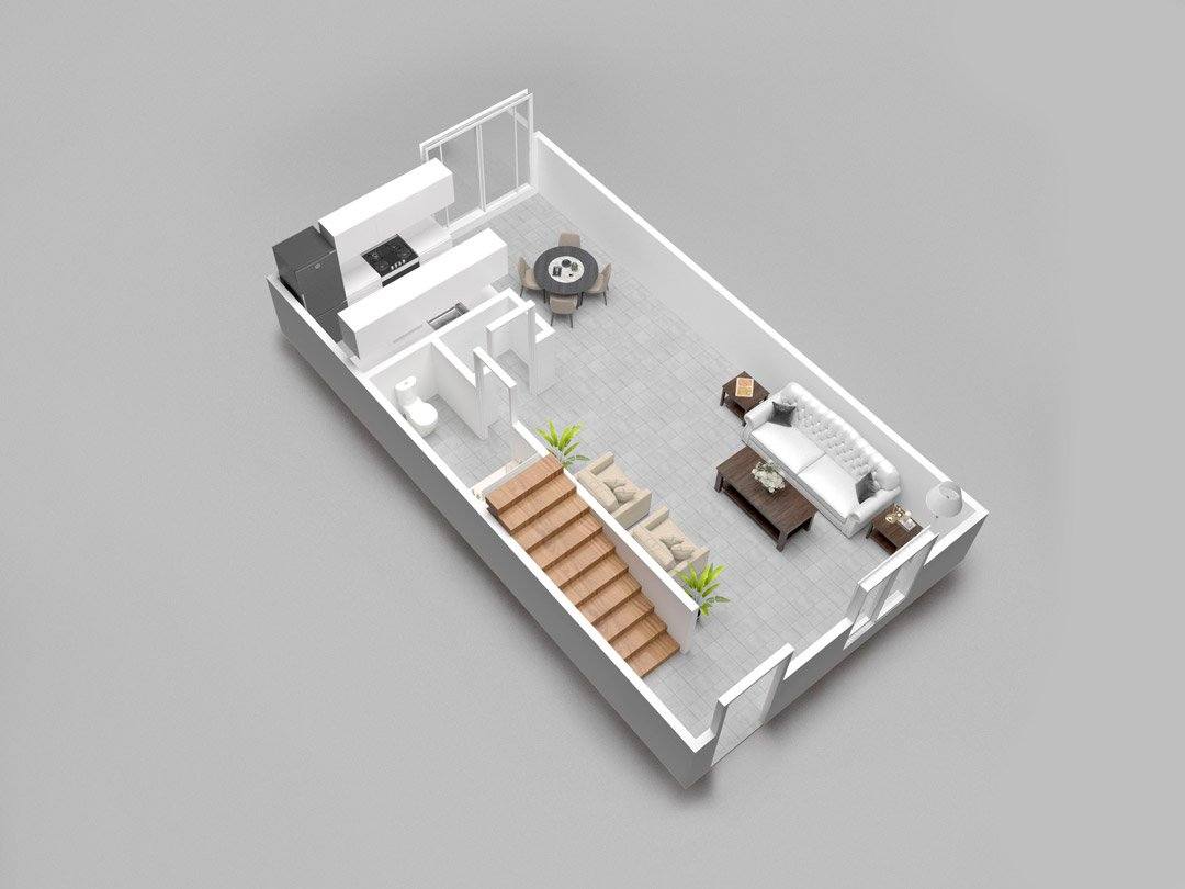 Almondwood Apartments Two-Bedroom Townhouse Floor Plan - Downstairs
