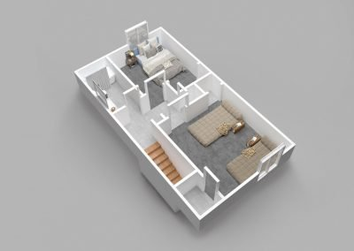 Almondwood Apartments Two-Bedroom Townhouse Floor Plan - Upstairs