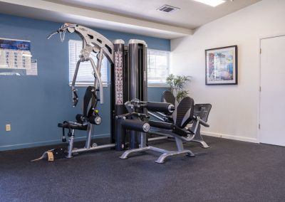 Weightlifting equipment at Almondwood Apartments