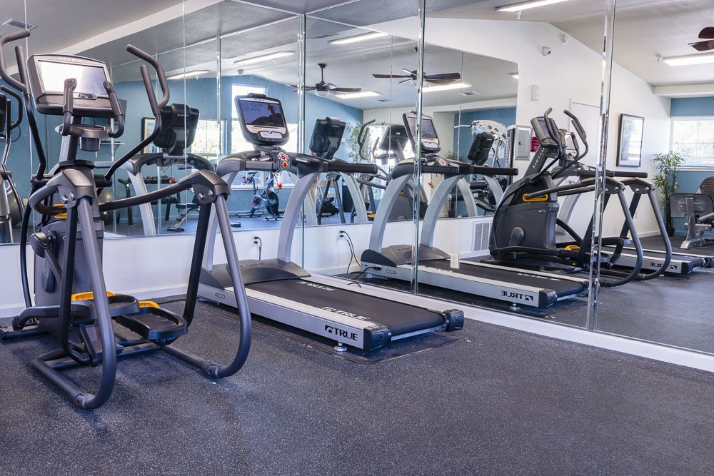 Fitness equipment at a Almondwood Apartments