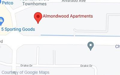 Map for Almondwood Apartments in Davis, CA