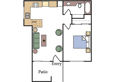 Fountain Circle 1-Bedroom Apartment Floor Plan Image