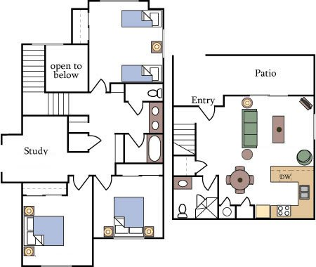Fountain Circle Three Bedroom Townhome Floor Plan A