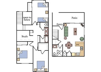 Fountain Circle Three Bedroom Townhome Floor Plan B Image