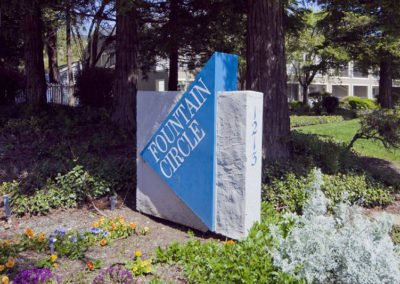 Fountain Circle Townhomes in Davis monument sign