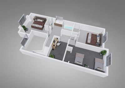 Fountain Circle Four-Bedroom Townhouse Upstairs Floor Plan