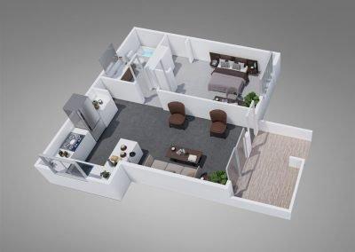 Fountain Circle One-Bedroom Apartment Floor Plan