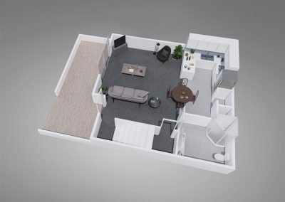Fountain Circle Three-bedroom Townhome Floor Plan Downstairs - Style A