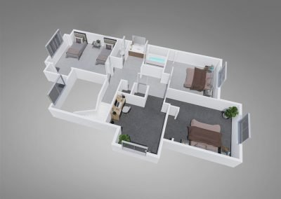 Fountain Circle Three-bedroom Townhome Floor Plan Upstairs - Style A