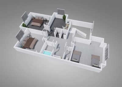 """Fountain Circle Three-Bedroom Townhouse """"A"""" Upstairs Floor Plan"""