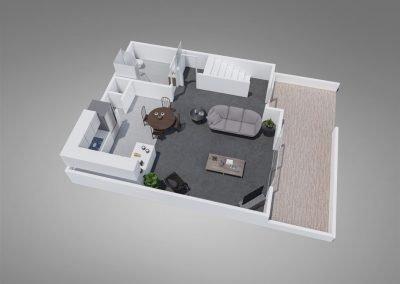"Fountain Circle Three-Bedroom Townhouse ""B"" Downstairs Floor Plan"