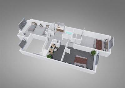 "Fountain Circle Three-Bedroom Townhouse ""B"" Upstairs Floor Plan"
