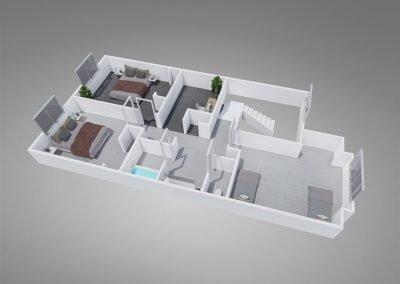 "Fountain Circle Three-Bedroom Townhouse ""C"" Upstairs Floor Plan"