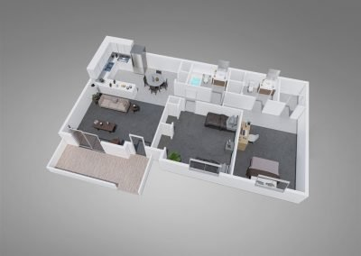 Fountain Circle Two-Bedroom Apartment Floor Plan