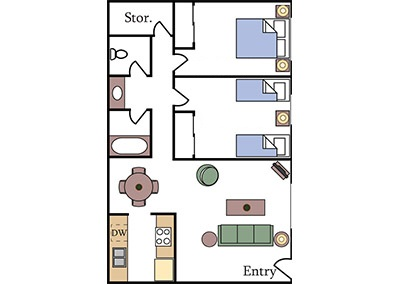 Aggie Square Apartments two-bedroom floor plan