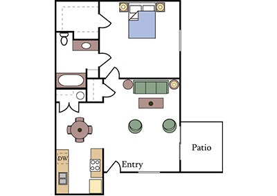 Almondwood Apartments one-bedroom floor plan in Davis CA