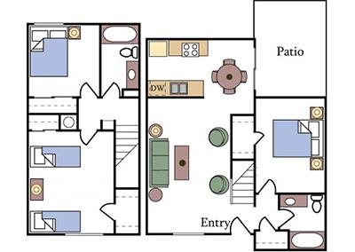 3-bedroom apartment floor plan located near me at UC Davis