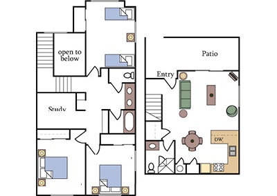 3-bedroom townhome apartment floor plan at Fountain Circle in north Davis