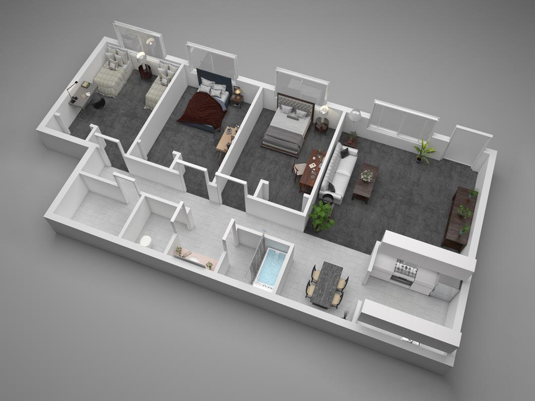 Aggie Square Three-Bedroom Apartment Floor Plan