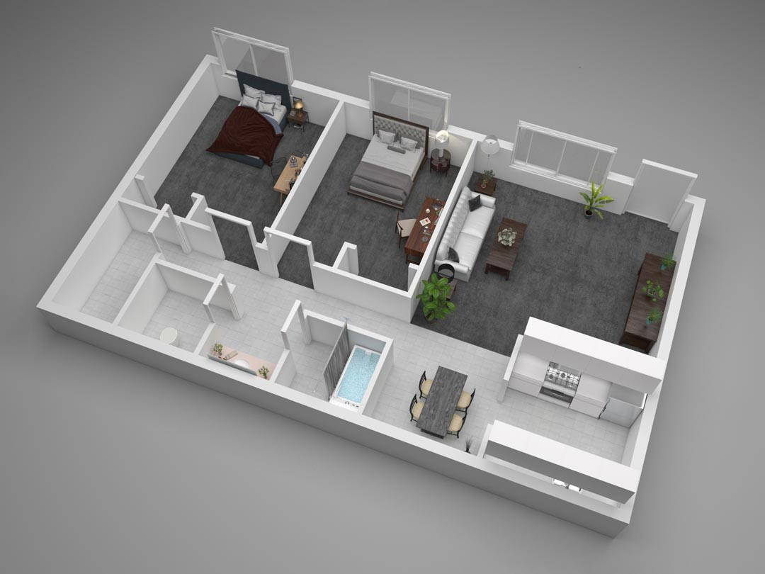 Aggie Square Two-Bedroom Apartment Floor Plan