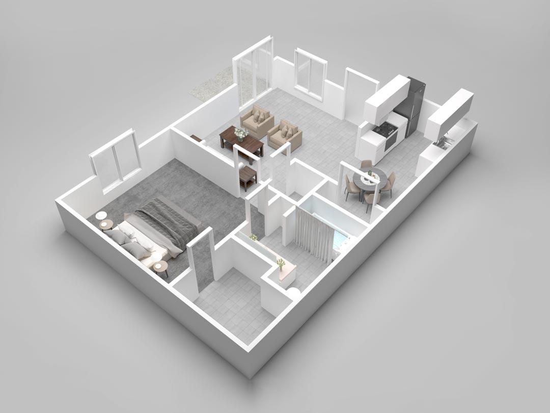 Almondwood Apartments One-Bedroom Floor Plan