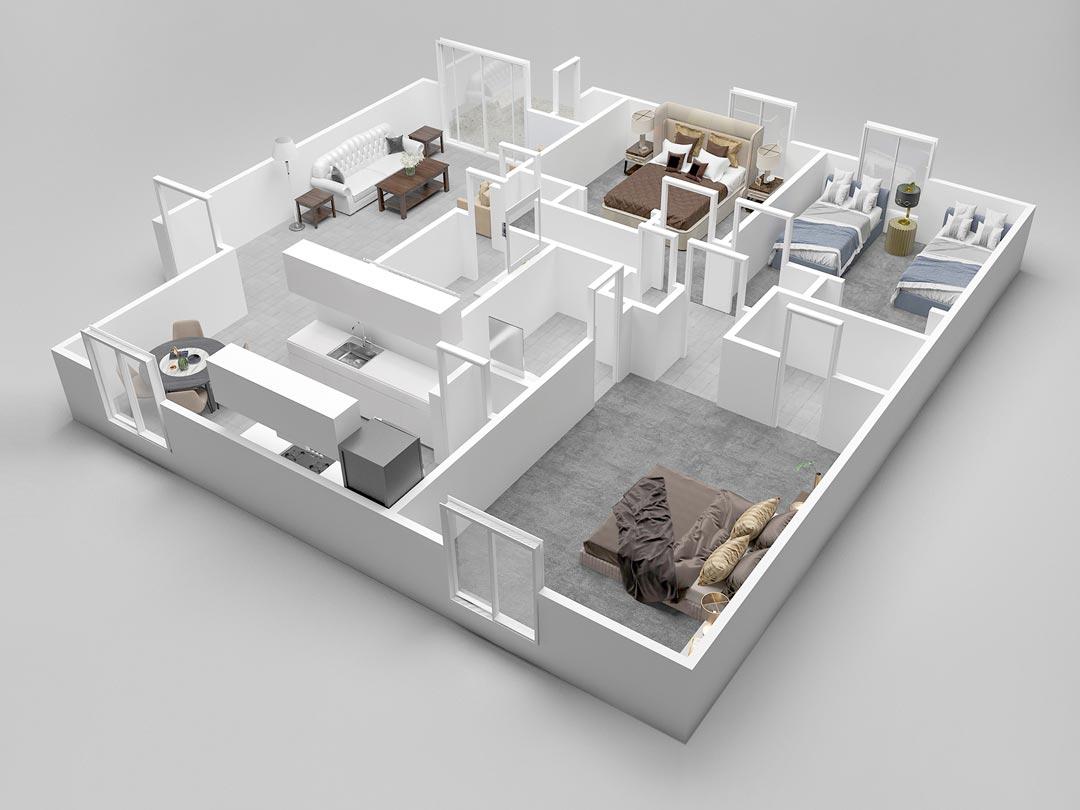 Almondwood Apartments Three-Bedroom Floor Plan