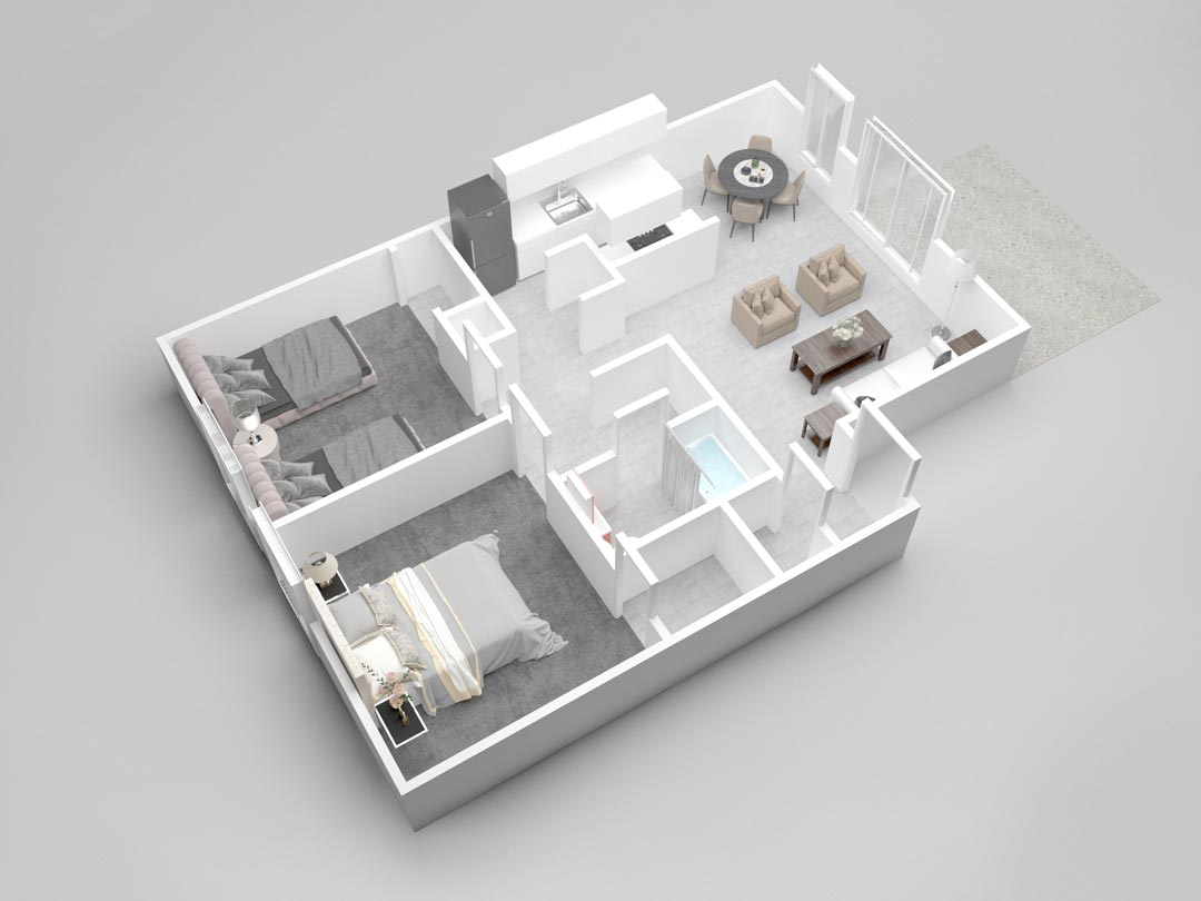 Almondwood Apartments Two-Bedroom Floor Plan