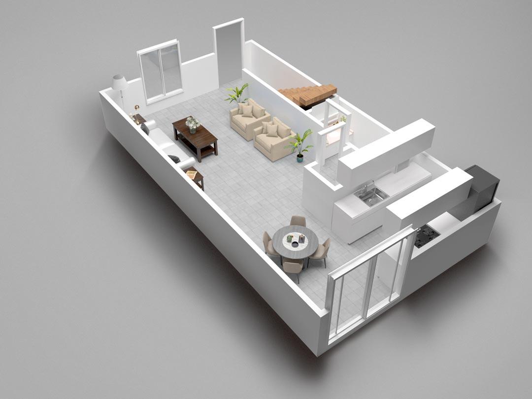 Almondwood Apartments Two-Bedroom Townhouse Downstairs Floor Plan