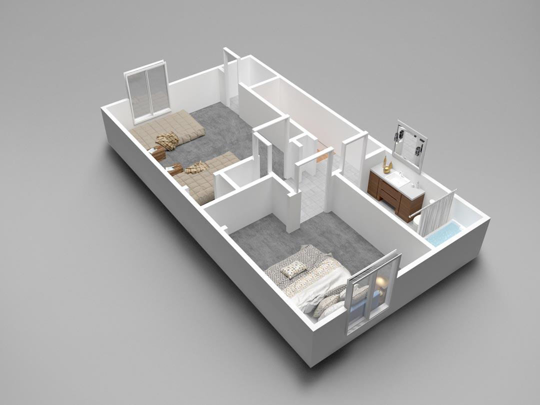 Almondwood Apartments Two-Bedroom Townhouse Uptairs Floor Plan