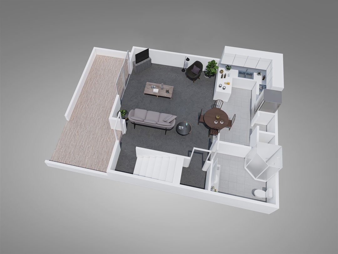 Fountain Circle Townhomes 3-Bedroom Downstairs Style B